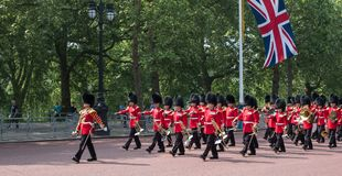 Marching band walking down The Mall in London, UK. Marching military band walking down The Mall in London, UK. walking down The Mall in London, UK. Photo taken Stock Photos