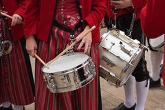 Marching Band with Woman Drummer Stock Images
