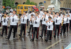 Marching band of youth students Stock Images