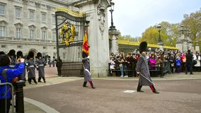 Marching bands at ceremony of Changing the guards at Backingham palace in London stock video footage