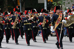 Marching brass band and drum major Stock Image