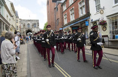 Marching British soldiers in Winchester England UK Royalty Free Stock Photography