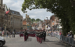 Marching British soldiers in Winchester England UK Royalty Free Stock Photos