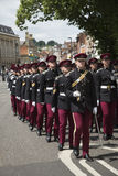 Marching British soldiers in Winchester England UK Royalty Free Stock Image