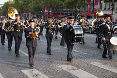 Marching on the Champs Elysees Royalty Free Stock Images