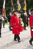 Marching Chelsea pensioner at Thiepval Memorial Stock Photo