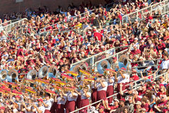 The Marching Chiefs College Band. Tallahassee, Florida - Oct. 22, 2011: The Marching Chiefs, the largest college band, performs at a Florida State home football Royalty Free Stock Image