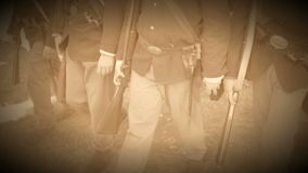 Marching Civil War soldiers come to a full stop (Archive Footage Version) stock footage