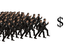 Marching Clones follow Dollar Sign. Studio Shot Stock Photography