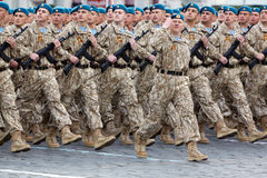 Marching column of airborne forces on parade Royalty Free Stock Images