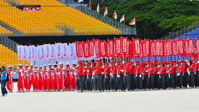 Marching contingents at NDP 2010 Royalty Free Stock Photo
