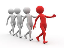 Marching figures. Three dimensional illustration of red human figure marching, with three grey followers, isolated on white background Stock Photography