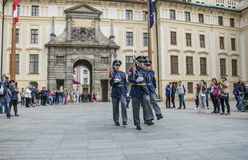 Marching guards. Changing of the guard at Prague Castle, Czech Republic Royalty Free Stock Photography