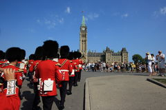 Marching Guards and Tourists Stock Image