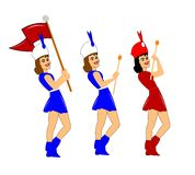 Marching majorettes. Trio of majorettes in various styles Royalty Free Stock Image