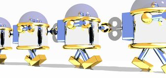 Marching robots Royalty Free Stock Photo