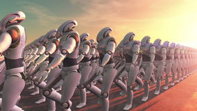 Marching robots stock video footage