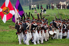 Marching Russian army soldiers at Borodino battle historical reenactment in Russia Stock Images