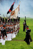 Marching Russian army soldiers at Borodino battle historical reenactment in Russia Royalty Free Stock Images