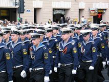 Marching Russian sailors. Stock Images