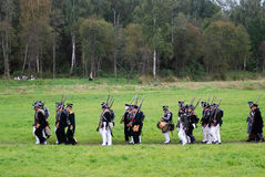 Marching Russian soldeirs at Borodino battle historical reenactment in Russia Stock Images