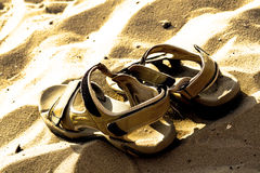 Marching sandals on beach Royalty Free Stock Images