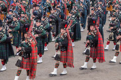 Marching Scottish Highland Pipers Royalty Free Stock Image