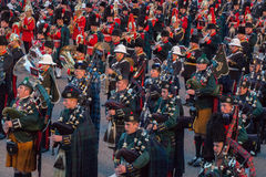Marching Scottish Highland Pipers Royalty Free Stock Photo