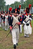 Marching soldiers at Borodino battle historical reenactment in Russia Stock Images