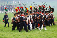 Marching soldiers at Borodino battle historical reenactment in Russia Royalty Free Stock Photography