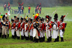 Marching soldiers at Borodino battle historical reenactment in Russia Stock Photography