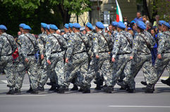 Marching soldiers. Bulgarian Army Marines (blue berets) from Varna garrison  marching in  the parade on the occasion of May 6 -the Day of Bravery and Bulgarian Royalty Free Stock Image