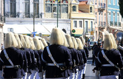 Marching soldiers during changing guard, Belem Stock Photos