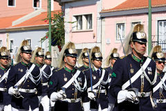 Marching soldiers during changing guard, Lisbon Royalty Free Stock Photography