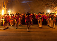 Marching soldiers in Colonial Williamsburg Royalty Free Stock Photos