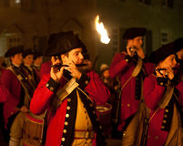 Marching soldiers in Colonial Williamsburg Stock Photos