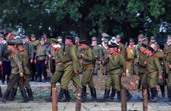 Marching soldiers. Royalty Free Stock Photo
