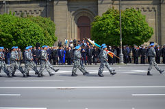 Marching soldiers in parade. Bulgarian Army Marines (blue berets) from Varna garrison and Navy sailors marching in the parade on the occasion of May 6 -the Day Royalty Free Stock Photography