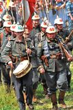 Marching soldiers-reenactors. Stock Photography