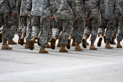 Marching soldiers with room for copy Royalty Free Stock Image