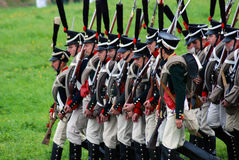 Marching soliders at Borodino battle historical reenactment in Russia Stock Images