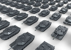 Marching tanks. 3D rendered illustration of multiple marching tanks. The composition is  on a white background with shadows Royalty Free Stock Photos