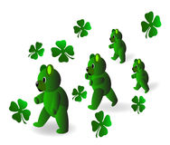 Marching Teddybears. Bright green teddy bears marching on St.Patrick's Day Royalty Free Stock Photos