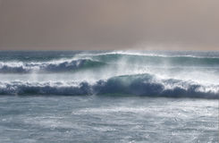 Marching waves. Seascape off Noordhoek beach at Cape Town with offshore waves Stock Image
