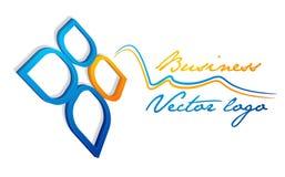 logo blu della foglia 3D Immagine Stock