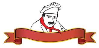 Marchio del cuoco unico con la bandiera Immagine Stock