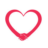 Marchio del cuore di cooperazione e di amore Fotografia Stock