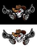 Marchio dell'illustrazione del cranio del cowboy Fotografie Stock Libere da Diritti