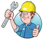 Marchio dell'operaio di costruzione del fumetto illustrazione vettoriale