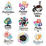 Marchio di estate Giù verso sud l'emblema della marca Logo dell'isola del sud Il logo di equatore Fotografia Stock Libera da Diritti